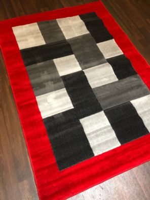 NEW MODERN BLOCK DESIGN RUGS RED 115X165CM 6FTX4FT APPROX GREAT QUALITY MATS